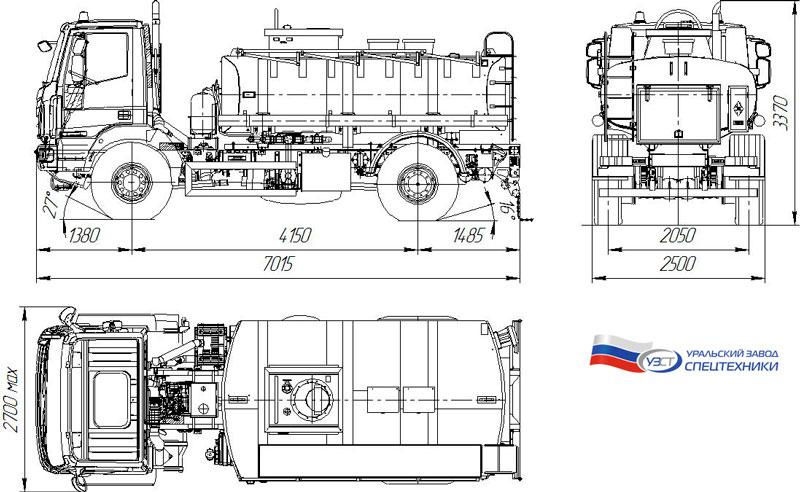 Габаритный чертеж топливозаправщика АТЗ-8 (003) на базе Iveco EuroCargo MLC150E28W