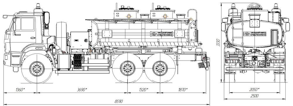 Габаритный чертеж автотопливозаправщика АТЗ-9 Камаз 43118-3011-50