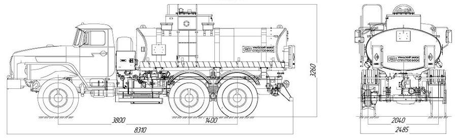 Габаритный чертеж автотопливозапращика АТЗ-9 Урал 5557-1112-60Е5