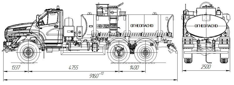 Габаритный чертеж автотопливозаправщика АТЗ-10 Урал-NEXT 4320-6952-72Е5Г38 (004)