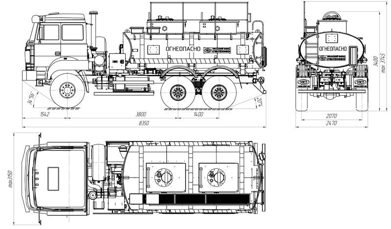 Габаритный чертеж автотопливозаправщика АТЗ-10 Урал 5557-4512-80Е5 (007)