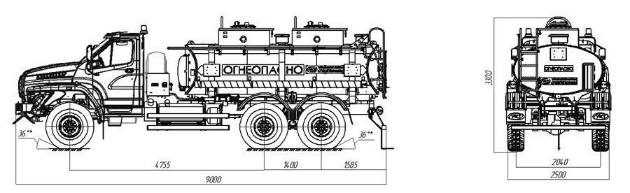 Габаритный чертеж автотопливозаправщика АТЗ-10 Урал-NEXT 4320-6952-72Е5Г38 (011)
