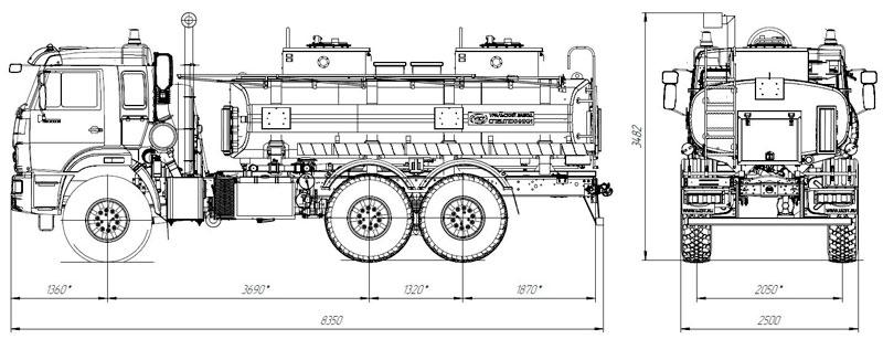 Габаритный чертеж автотопливозаправщика АТЗ-11 Камаз 43118-3049-50 (021)