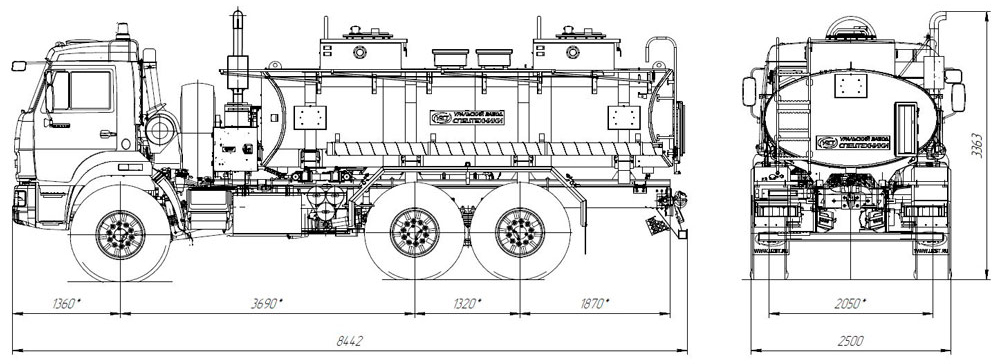 Габаритный чертеж автотопливозаправщика АТЗ-11 Камаз 43118-3027-50 (024)