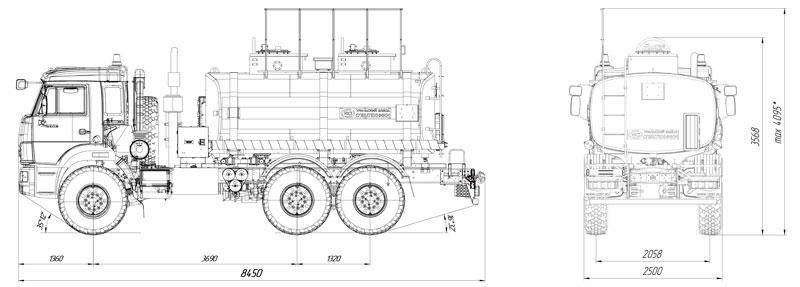 Габаритный чертеж автотопливозаправщика АТЗ-12 Камаз 43118-3027-50 (009)