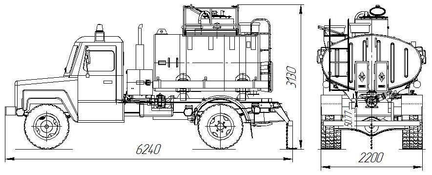 Габаритный чертеж автотопливозаправщика АТЗ-4,9 на шасси ГАЗ 33086