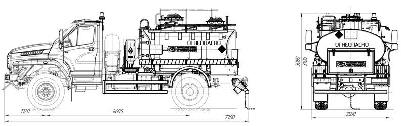 Габаритный чертеж автотопливозаправщика АТЗ-5 Урал-NEXT 43206-6152-71Е5Г38 (001)