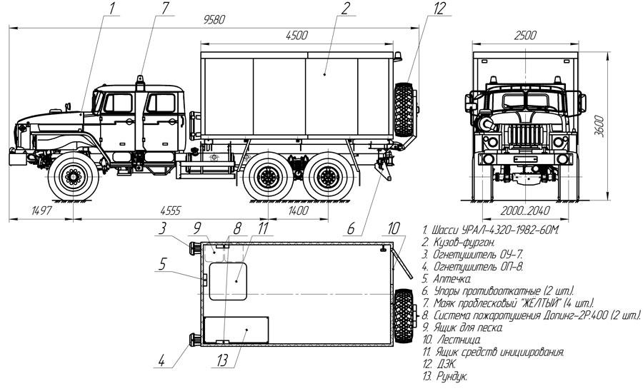 Планировка автомобиля для перевозки взрывчатых веществ Урал 4320-1982-60Е5 (С-001)