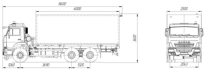 Габаритный чертеж автомобиля для перевозки взрывчатых веществ Камаз 65115-773082-42 (002)
