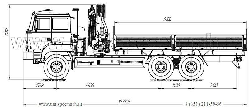 Габаритный чертеж бортового автомобиля Урал 5557-4112-80Е5 с КМУ Palfinger 15500A