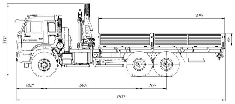 Габаритный чертеж бортового автомобиля Камаз 43118-3027-50 с КМУ ИМ-150 (29)