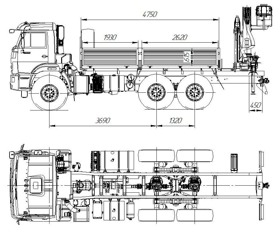Габаритный чертеж бортового автомобиля Камаз 43118-3027-50 с КМУ АНТ 12-4 (42)