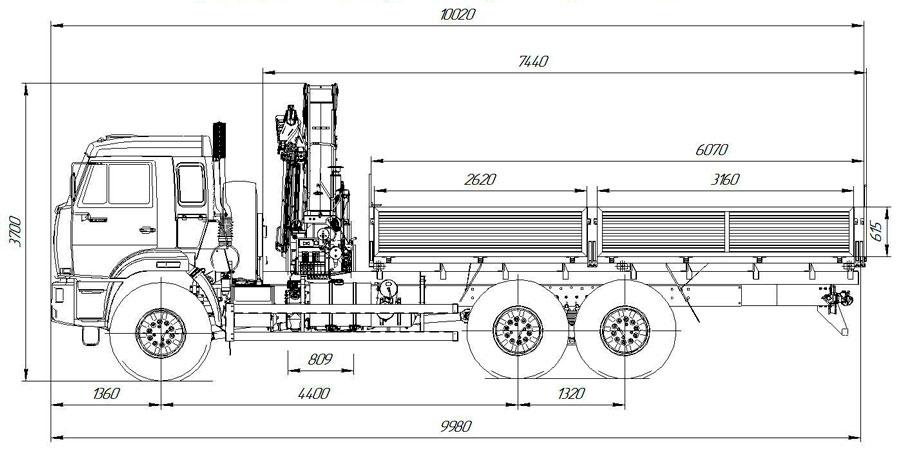 Габаритный чертеж бортового автомобиля Камаз 43118-3999-48(А5) с КМУ Palfinger РК 23500A