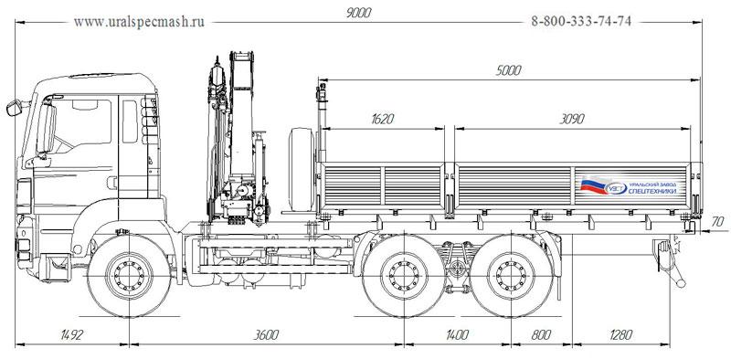 Габаритный чертеж бортового автомобиля MAN TGS 40.430 с КМУ HYVA HB150E2