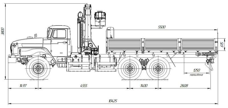 Габаритный чертеж бортового автомобиля Урал 4320-1912-60Е5 с КМУ АНТ 22-2
