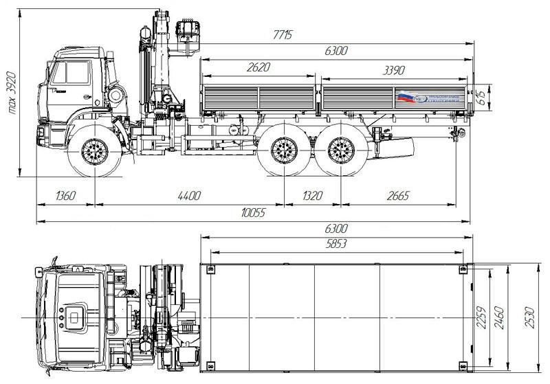 Габаритный чертеж бортового автомобиля Камаз 43118-3027-50 с КМУ АНТ 22-2