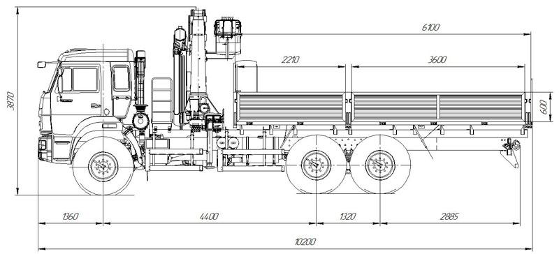 Габаритный чертеж  бортового автомобиля Камаз 43118-3049-50 с КМУ АНТ 22-2