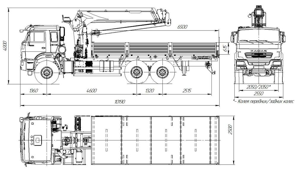 Габаритный чертеж бортового автомобиля Камаз 43118-3011-50 с КМУ УММ 86Т