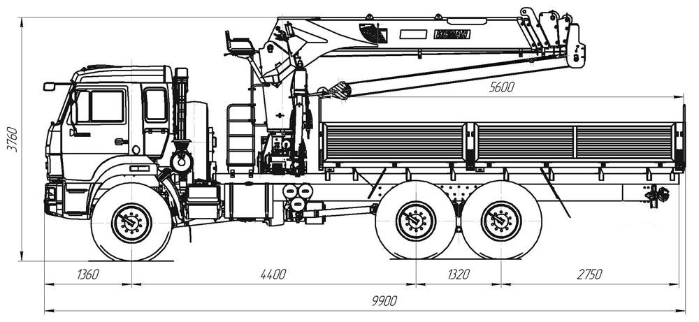 Габаритный чертеж бортового автомобиля Камаз 43118-3078-46 с КМУ ИТ-150