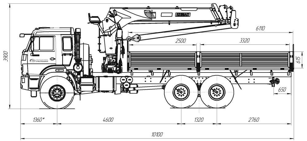 Габаритный чертеж бортового автомобиля Камаз 43118 с КМУ ИТ-150
