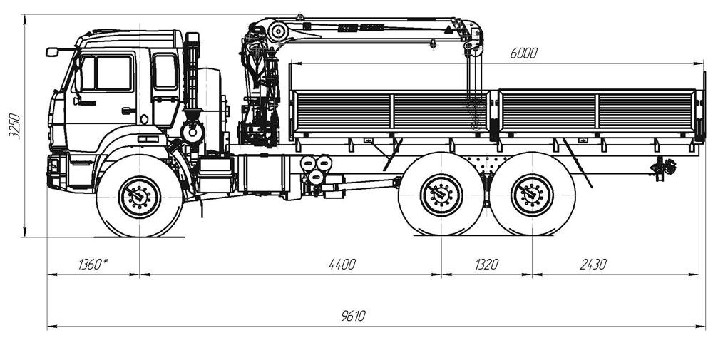 Габаритный чертеж бортового автомобиля Камаз 43118 с КМУ ИТ-80