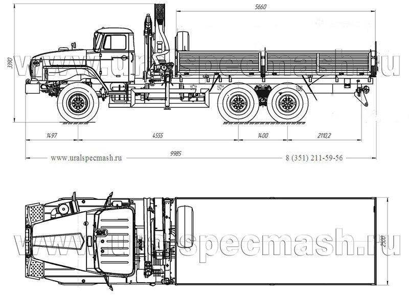 Габаритный чертеж бортового автомобиля Урал 4320-1912-60Е5 с КМУ АНТ 12-2