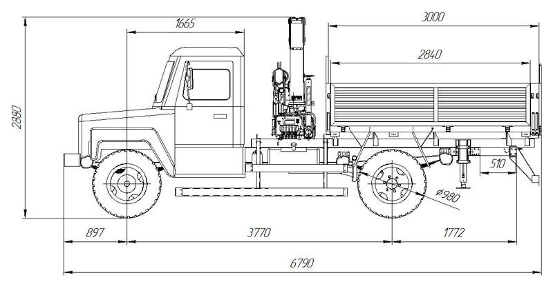 Габаритный чертеж бортового автомобиля ГАЗ 33086 с КМУ АНТ 7.5-2 (001)