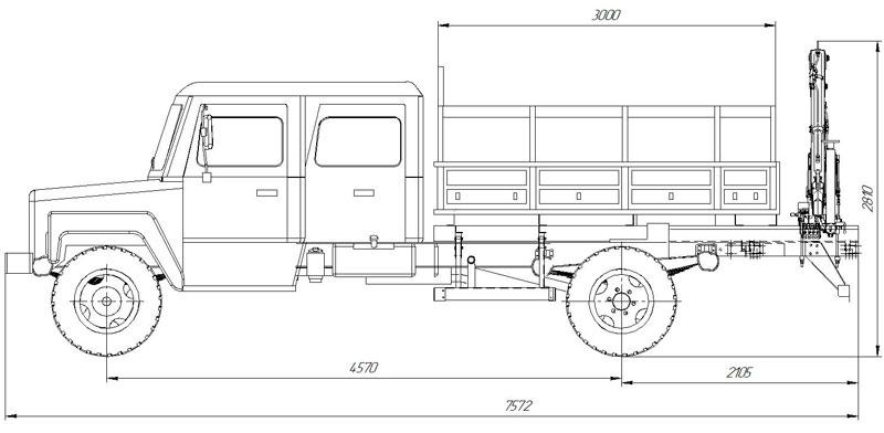 Габаритный чертеж бортового автомобиля ГАЗ 33088 с КМУ АНТ 1.8-2 (002)