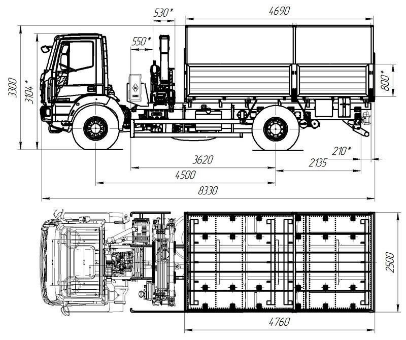 Габаритный чертеж бортового Iveco EuroCargo ML150E28W с КМУ АНТ 5-2 (001)