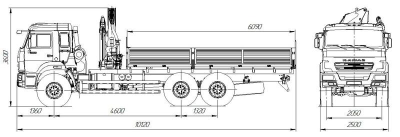 Габаритный чертеж бортового автомобиля Камаз 43118-3027-50 с КМУ ИМ-150N (24)