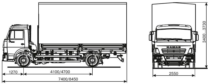 Габаритный чертеж бортового автомобиля Камаз 4308-69(G5)
