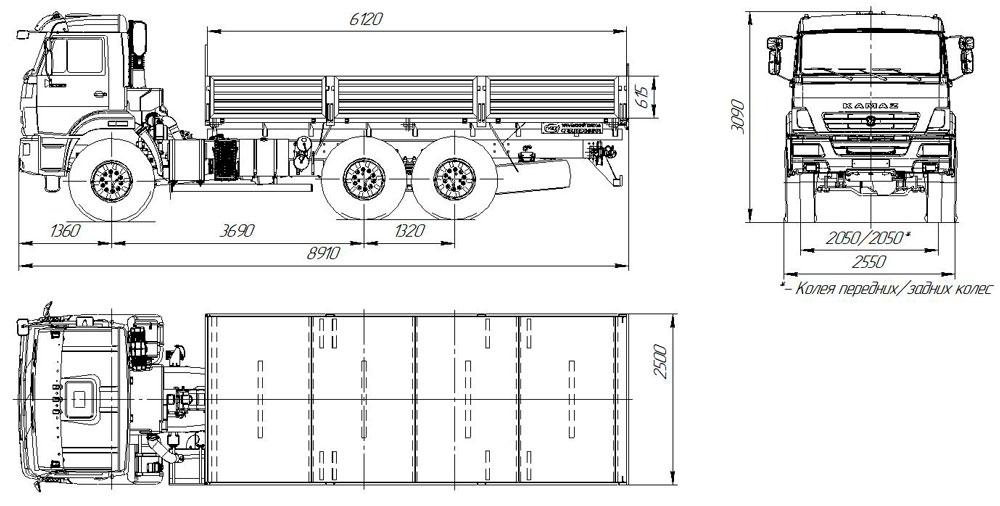 Габаритный чертеж бортового автомобиля Камаз 43118-3011-50 (54)