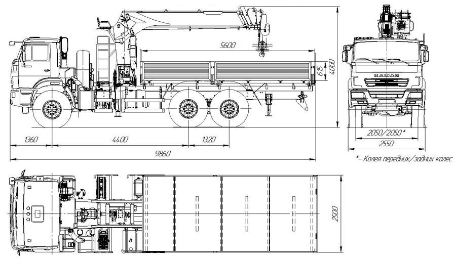 Габаритный чертеж бортового автомобиля Камаз 43118-3011-50 с КМУ Kanglim KS1256G-II (43)