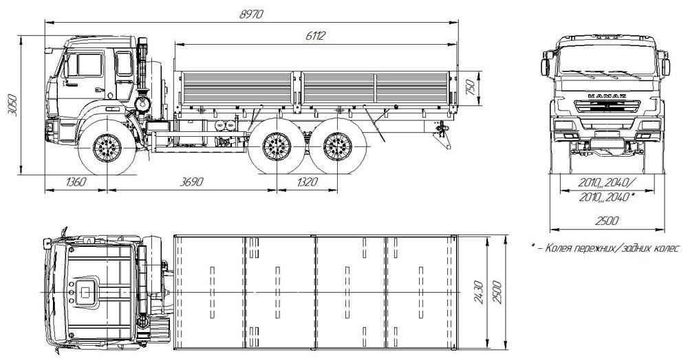 Габаритный чертеж бортового автомобиля Камаз 43118-3011-50 (27)