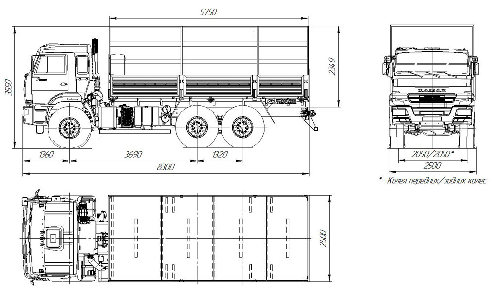 Габаритный чертеж бортового автомобиля Камаз 43118-3027-50