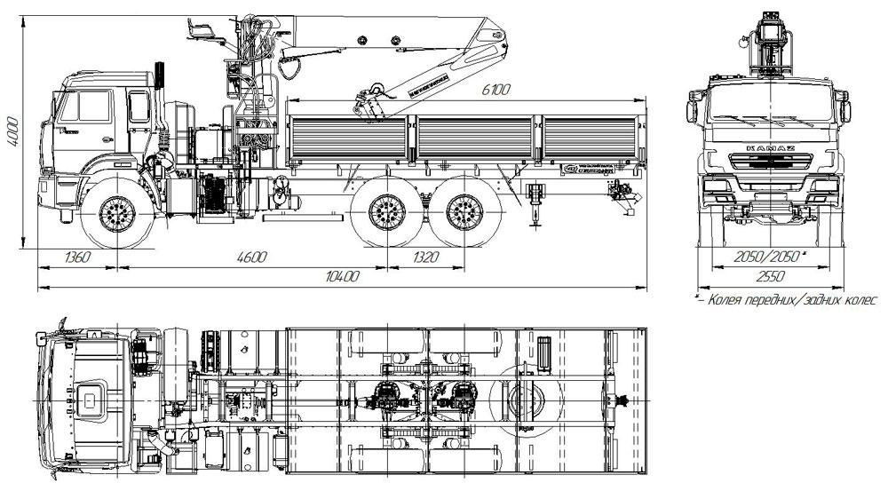Габаритный чертеж бортового автомобиля Камаз 43118-3027-50 с КМУ АНТ 27-1