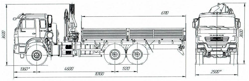 Габаритный чертеж бортового Камаз 43118-3027-50 с КМУ АНТ 12-2 (11)