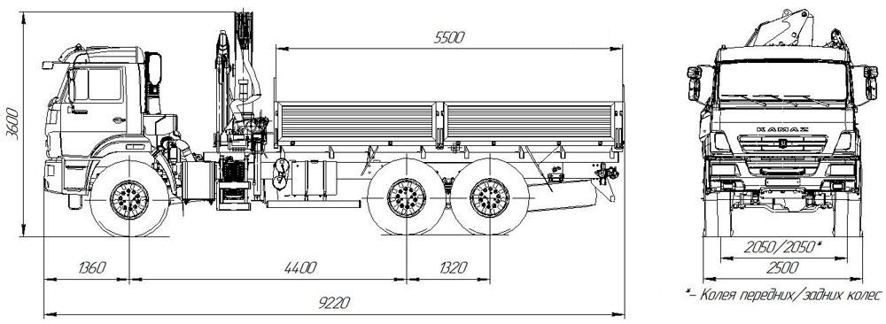 Габаритный чертеж бортового автомобиля Камаз 43118-3027-50 с КМУ АНТ 12-2 (52)