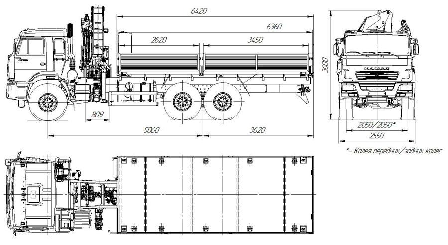 Габаритный чертеж бортового автомобиля Камаз 43118-3999-48(А5) с КМУ Palfinger PK 18500
