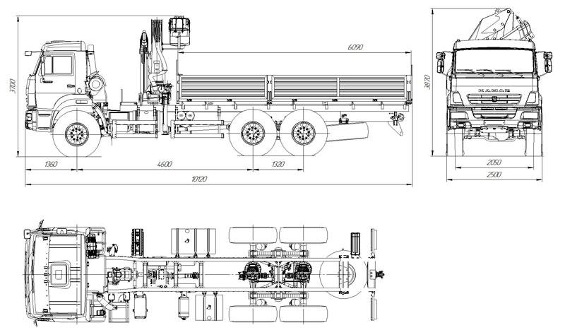 Габаритный чертеж бортового автомобиля Камаз 43118-3027-50 с КМУ АНТ 12-2 (30)