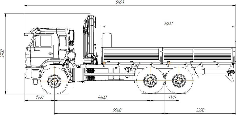 Габаритный чертеж бортовоого автомобиля Камаз 43118-3027-50 с КМУ АНТ 8.5-2 (34)