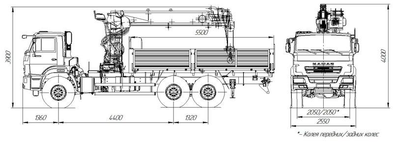 Габаритный чертеж бортового автомобиля Камаз 43118-3011-50 с КМУ ИТ-200