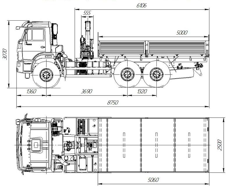 Габаритный чертеж бортового автомобиля Камаз 43118-3027-50 с КМУ Fassi F40B.0.22 (32)