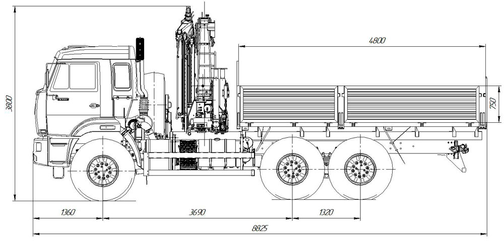 Габаритный чертеж бортового автомобиля Камаз 43118-3027-50 с КМУ ИМ-180