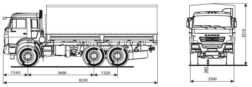 Габаритный чертеж бортового автомобиля Камаз 43118-50