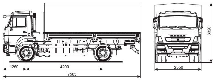 Габаритный чертеж бортового автомобиля Камаз 43253-6010-69(G5)