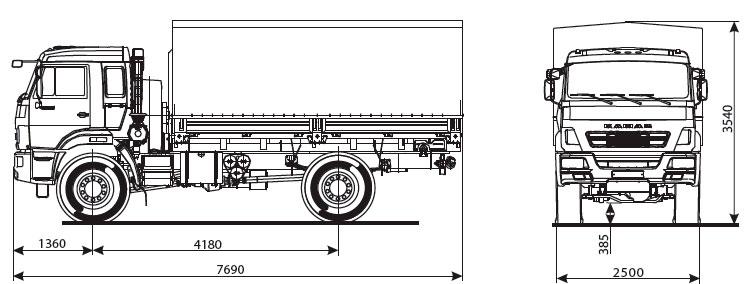 Габаритный чертеж бортового автомобиля Камаз 43502-6024-66(D5)