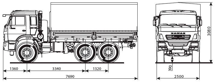Габаритный чертеж бортового автомобиля Камаз 5350-6017-66(D5)