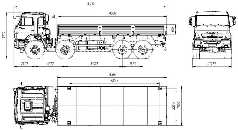 Габаритный чертеж бортового автомобиля Камаз 63501-3025-52 (28)