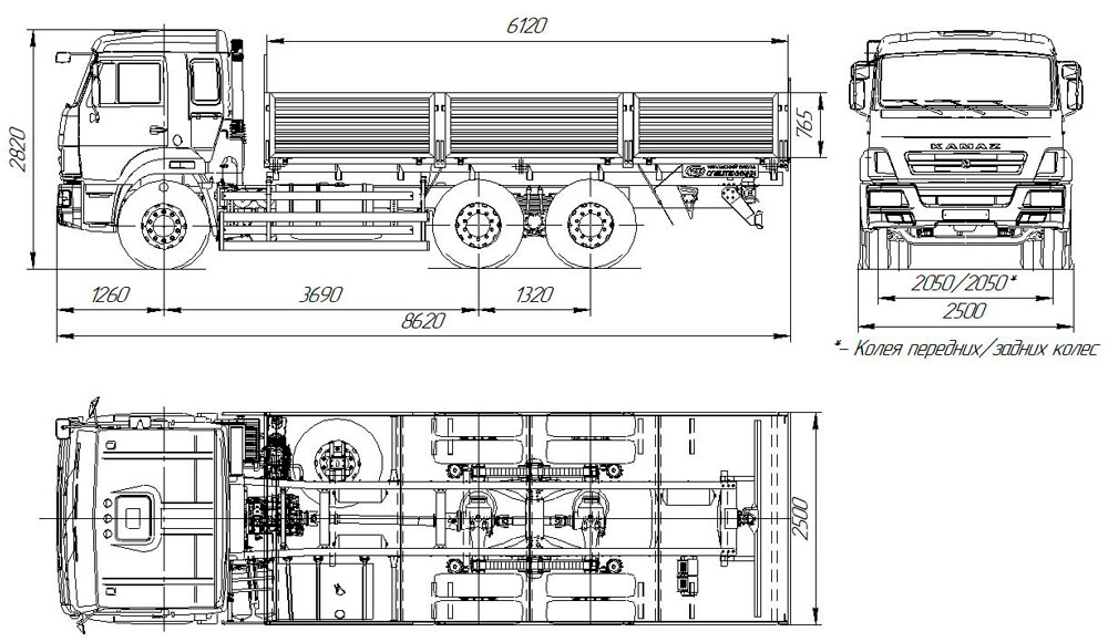 Габаритный чертеж бортового автомобиля Камаз 65115-3052-48(А5)